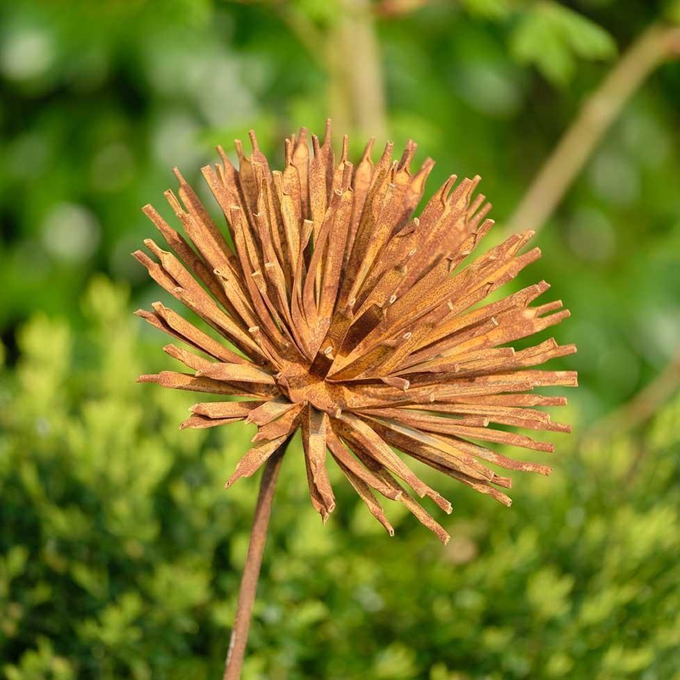 Fleur en métal rouillé et forgé sur tuteur.