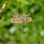 Etiquette BASILIC en metal rouillé