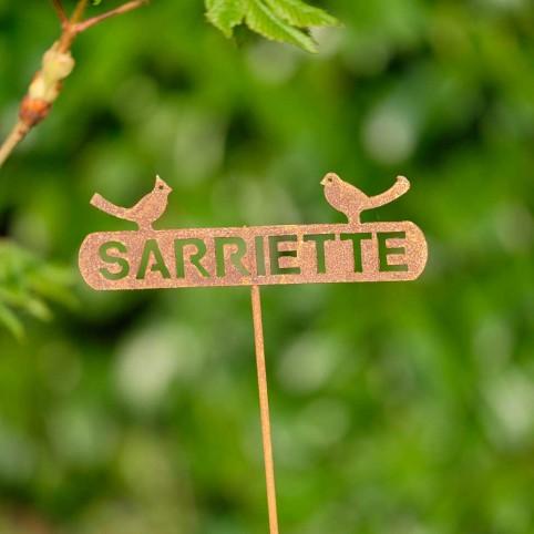 Etiquette SARRIETTE en metal rouillé