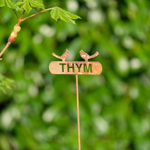 Etiquette THYM en metal rouillé