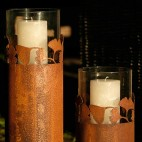 Lanterne-Bougeoirs Gingko métal rouillé 60cm & 40cm